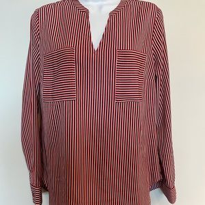 NWOT. CAbi striped Franklin blouse red/white/blue
